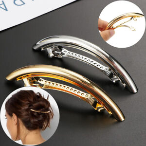 Women Ladies Metal Gold Silver Tube Large Hair Clip Barrette Hairpin Accessories