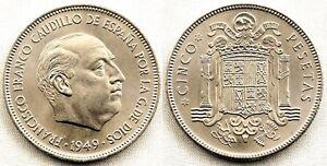 Estado-Espanol-5-Pesetas-1949-19-49-Madrid-SC-UNC-FDC-Niquel-15-g-Escasa