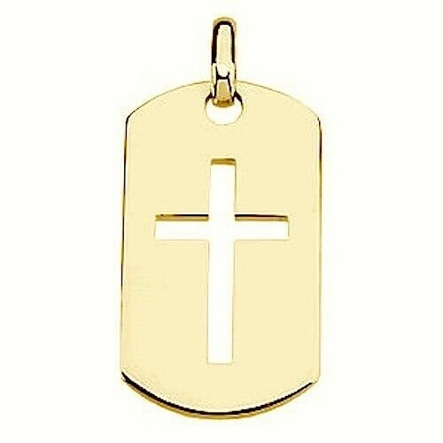 Mens Cross Dog Tag Pierced Cut Out Large Size Sterling Silver Quality