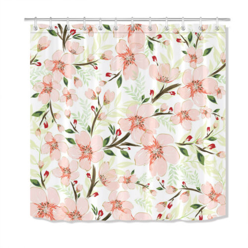 Branch Flower Bloom Shower Curtain Bath Accessory Sets Polyester Fabric Hooks