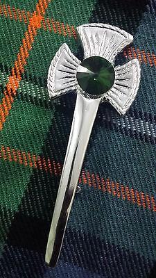 Thistle flower  Kilt Pin  Chrome Finish,