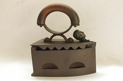 Antique CEF PATENT Sad Iron Charcoal Human Head VERY RARE!