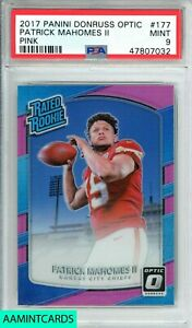 2017-PANINI-DONRUSS-OPTIC-Patrick-Mahomes-177-PINK-ROOKIE-RC-PSA-9