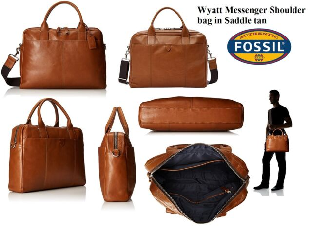 Fossil Wyatt 100 Leather Top Zip Messenger Workbag In Saddle Tan Nwt