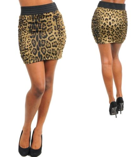 WOMENS SKIRT PENCIL Ruched side panels wide elastic waist cheetah S M L lined
