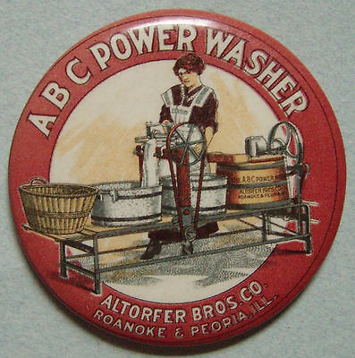 EARLY ABC POWER WASHER ADVERTISING CELLULOID POCKET MIRROR GREAT GRAPHICS