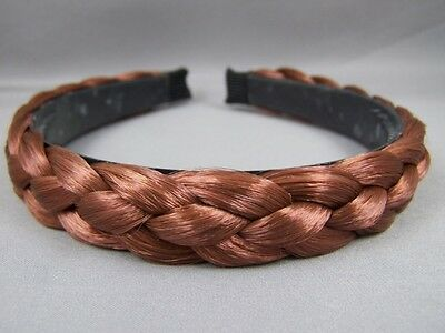 "Auburn Red Brown braid faux hair headband braided plaits 3/4"" wide hair band"