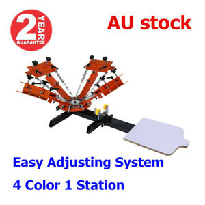 AUS 4 Color 1 Station Silk Screen Printing Machine with Easy Adjust System