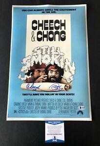 CHEECH AND CHONG SIGNED AUTOGRAPH UP IN SMOKE 12X18 BECKETT BAS COA