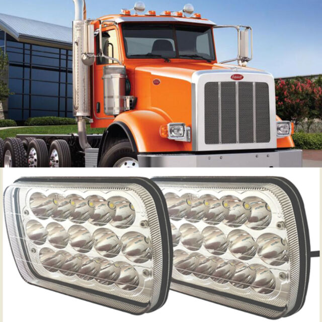 Pair 7x6 LED Headlights Hi/lo Beam With DRL Fit for Peterbilt 367 Truck