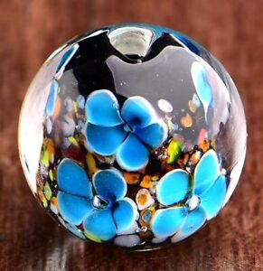 10pcs-exquisite-handmade-Lampwork-glass-beads-blue-flower-round-20mm