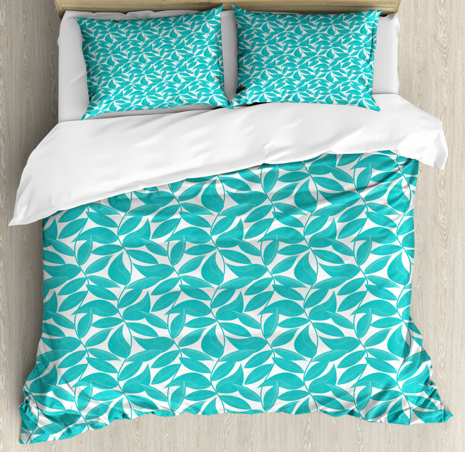 Turquoise Duvet Cover Set with Pillow Shams Foliage Leaves Lines Print