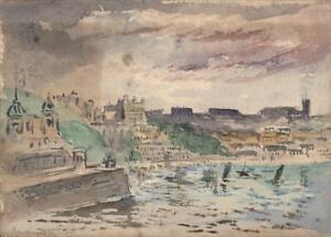 CAPTAIN-JOHN-HENRY-HOWARD-RN-Watercolour-Painting-SCARBOROUGH-COASTLINE-c1890-039-s