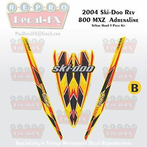 2004 Ski-doo Rev MXZ 800 Yellow Hood Panel Reproduction Vinyl Decal Set 3Pc