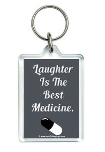 Quote Keyring Laughter Is The Best Medicine Novelty Jokes Key