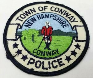 Town Of Conway New Hampshire Police Vtg Patch Round Old Design Military Man Cop