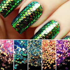 5 Colors/Set Nail Sequins Glitter Scales Tips 3D Shining Nail Art Decoration New