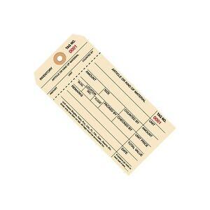 """Inventory Tags, 1 Part Stub Style #8, (3000-3999), 6 1/4"""" x 3 1/8"""", Manila, 1"