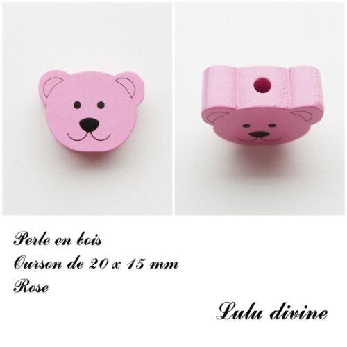 Perle plate Tête d/'ourson Perle en bois de 20 x 15 mm Rose