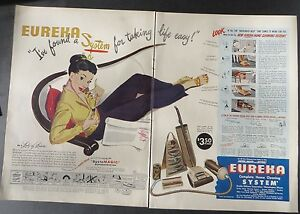 Original-Print-Ad-1947-2-Page-EUREKA-Cleaning-System-Vacuum-Lady-of-Leisure
