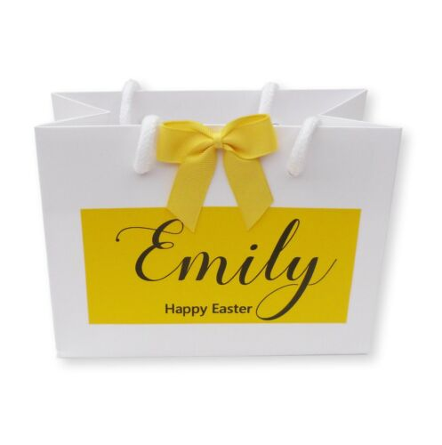 PERSONALISED WHITE GIFT BAG YELLOW LABEL PRINT THANK YOU EASTER PRESENT WEDDING