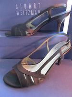 Stuart Weitzman Shoes Size 9 Black Satin Sandal Heel Mischievous 3 Heel