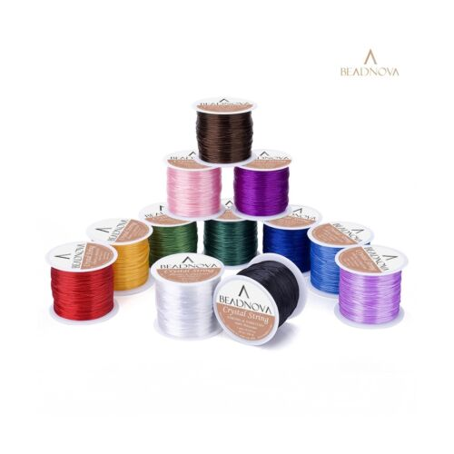 BEADNOVA 1mm Elastic Stretch Polyester Jewelry Bracelet Crystal String Cord 6...