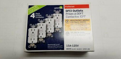 LEVITON GFNT1-4W  GFCI 15A GFI WHITE TOTAL 4PCS