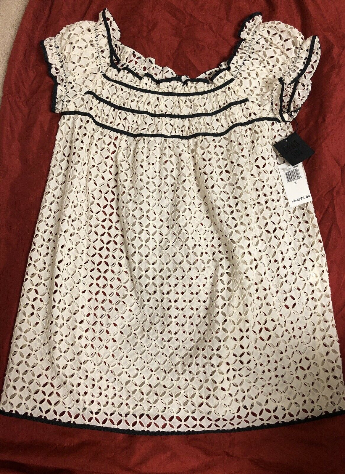 NWT  ANNA SUI Embroidered Lace Mesh Ruffle Hem Tunic Off Shoulder Romantique