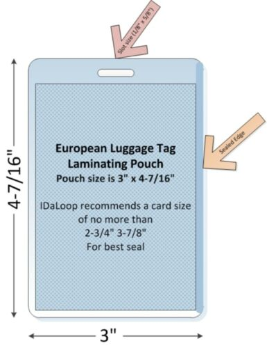"3/"" x 4-7//16/"" 10 MIL Free Ship 100//pk European Luggage Tag Laminating Pouch"