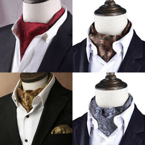 Sciarpe-cravatta-cravatta-ascot-a-collo-alto-in-seta-jacquard-da-uomo