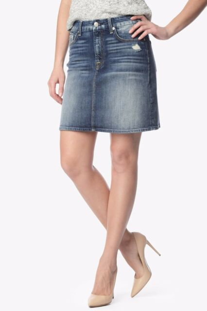 a399b8ca6fff NWT 7 FOR ALL MANKIND Sz24 A-LINE DESTROYED MINI SKIRT GRINDED VINTAGE  BLUE2$178