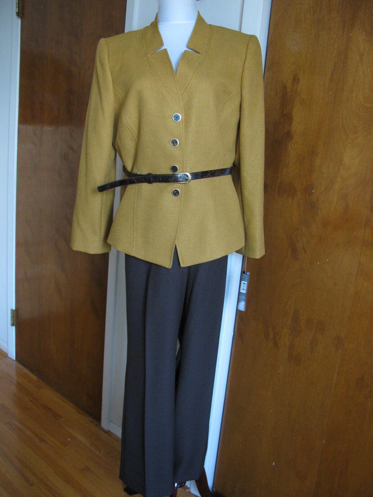 Tahari Asl Beige Women's Mustard Brown Pant Suit Set Size 16P NWT