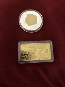 2PCS Trump 100 US Dollar Gold Plated Bar & 2020 Trump Coin ...