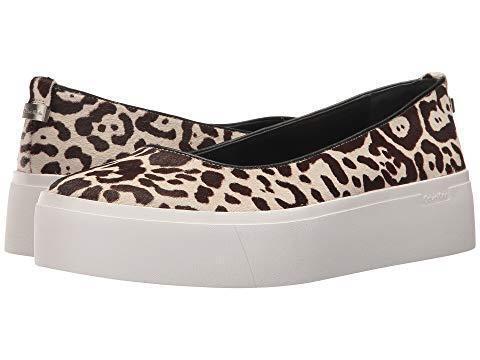 Calvin Klein Janie Calf Fur Leopard Spots Leder Slip-on Platform Schuhes NEU Wms