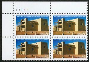 #3220 32c Español Settlement de Sw, Placa Negro [B1111 Ul ], Nuevo Cualquier 4 =
