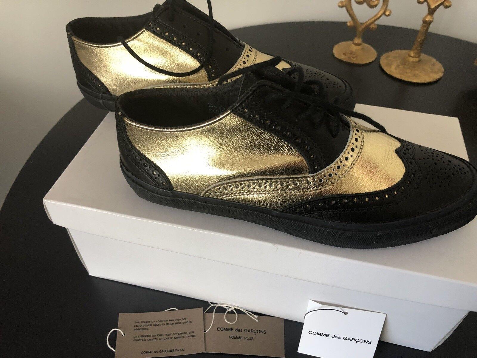 Comme des Garcons Homme Plus Black gold Leather Brogue Trainers sz 38 NEW 5.5 6