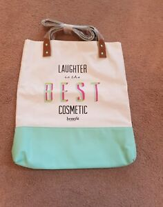 12446081717 Details about New Benefit Large Canvas/faux Leather Tote Bag Beach Shopping