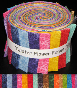 Twister-Flower-Petals-Colors-Jelly-Roll-17-Cotton-Fabric-Strips-2-5-034-Wide-X-44-034