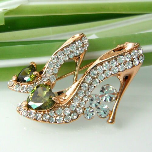 Navachi Heart-shaped Ruby Green Zircon Shoes 18K GP Crystal Pin Brooch BH7004