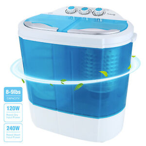 10-LBS-Portable-Mini-Washing-Machine-Compact-Twin-Tub-Washer-Spiner-Dryer-Blue