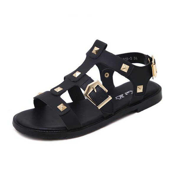 Sandale eleganti bassi  ciabatte colorati nero borchie comodi simil pelle 1079