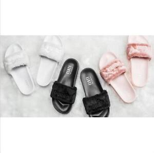 d14b3a117a6 NEW PUMA BY RIHANNA LEADCAT FENTY FAUX FUR SLIDE SANDALS PINK BLACK ...