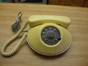 VINTAGE-1980-NORTHERN-TELECOM-DAWN-YELLOW-ROTARY-TELEPHONE-MADE-IN-CANADA