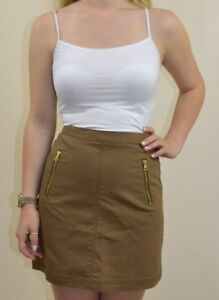 H-amp-M-NEW-UK-16-LADIES-BROWN-HIGH-WAISTED-SKIRT
