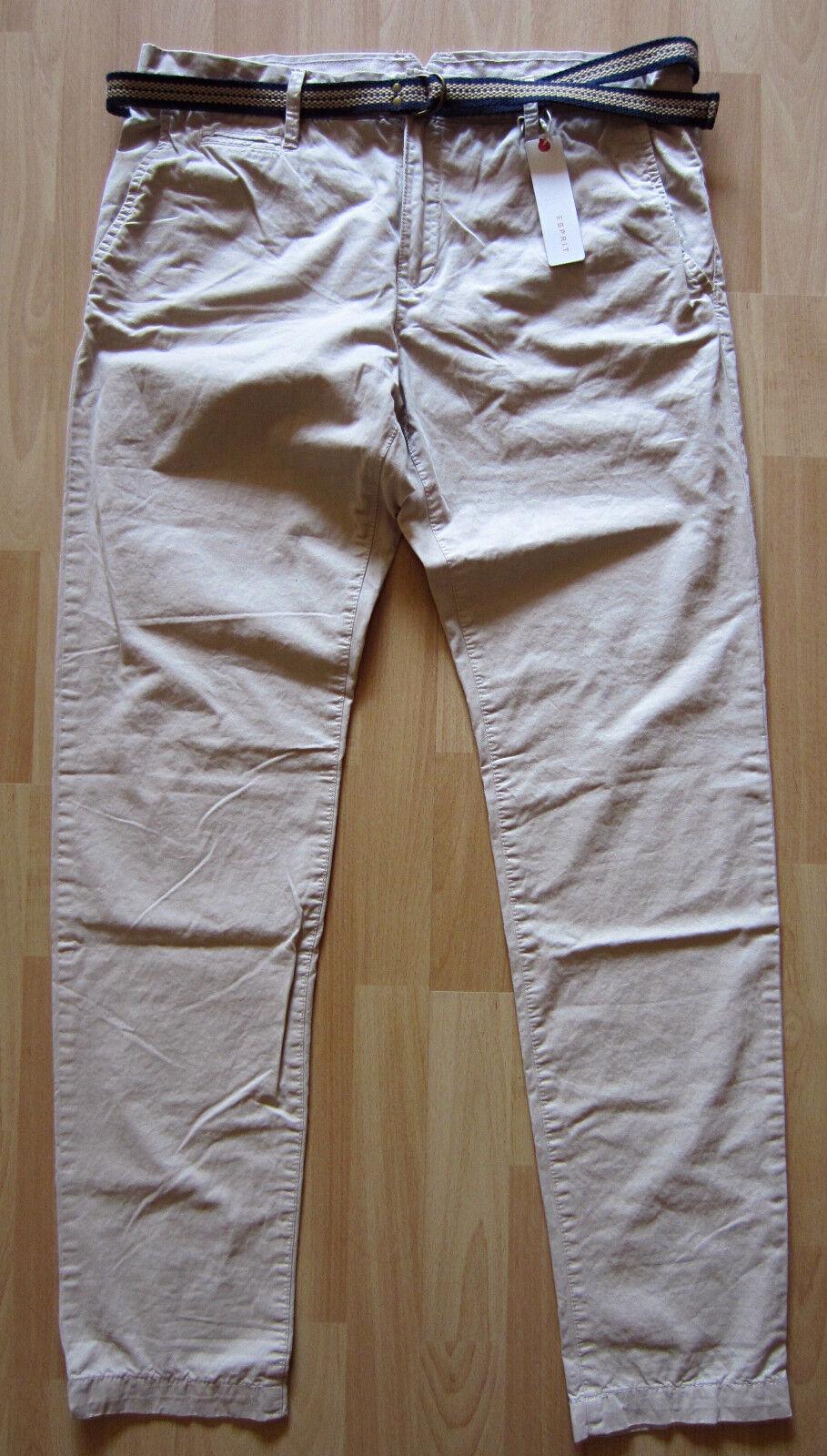 ESPRIT Chino Gr 34 34 NEU Beige Hose Pima Cotton