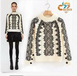 a8eb0ab44be Womens Designer Inspired vintage lace design wist white sweater ...