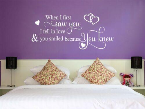 "Wall Quote /""I fell in love.../""  Cute Romantic Home Sticker Decal Decor Transfer"