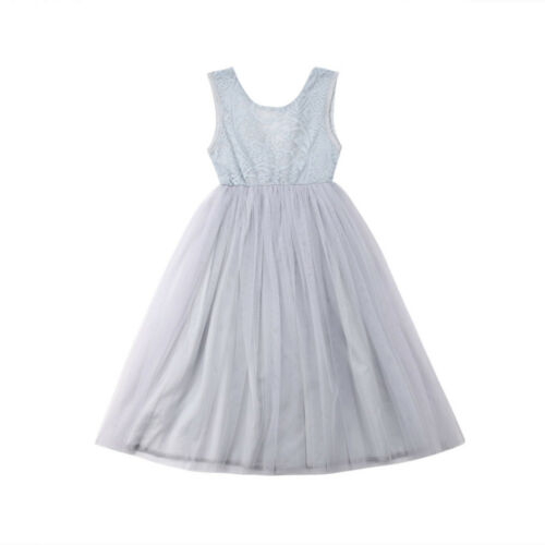 US Princess Kids Baby Flower Girl Dress Lace Tulle Party Pageant Formal Dresses