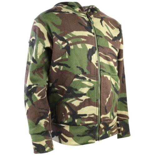 BOYS ARMY CAMOUFLAGE ZIP HOODIE JACKET KIDS AGE 3-13 YRS FLEECE LINED  DPM CAMO